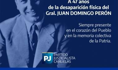 Homenaje del PJ Cañuelas ante el aniversario de muerte del General Juan D. Perón 1974-2021