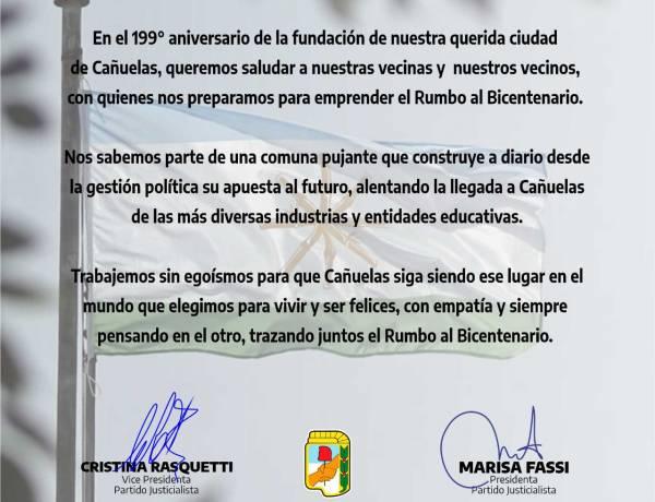 SALUDOS DEL PJ CAÑUELAS EN EL 199° ANIVERSARIO DE LA CIUDAD