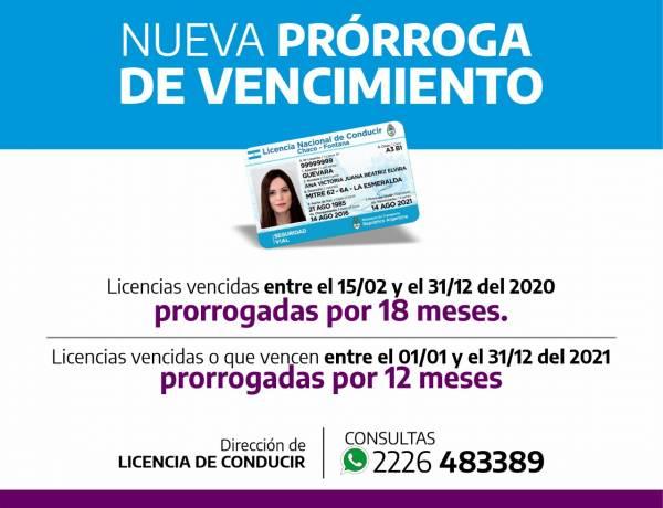 Nuevas prórrogas en los vencimientos de licencias de conducir