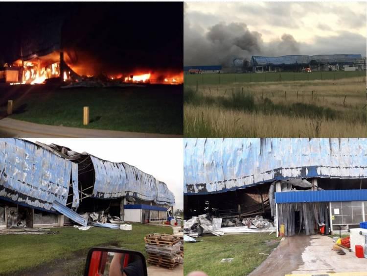 Dantesco incendio devoró al frigorífico Cabaña Argentina