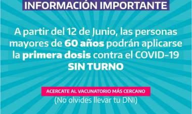 La vacunación sin turno se ampliará a mayores de 60 años
